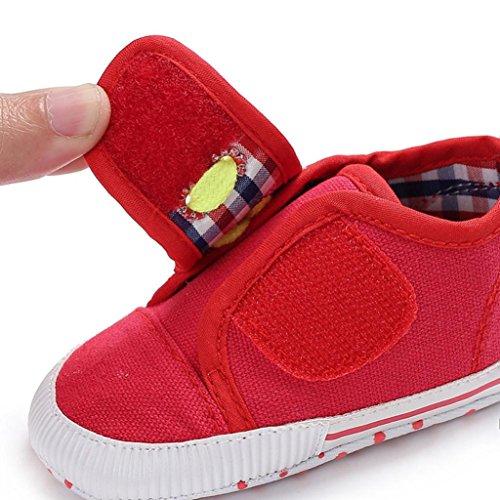 Baumwolle Boots Schuhe Jamicy® Neugeborenen Baumwolle Baby Mädchen Jungen Kinderbett Leinwand Schuhe Weiche Sohle rutschfeste Turnschuhe 6 ~ 18 Monate Rot