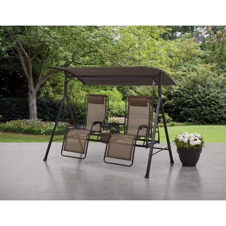 Comfy and Stylish Big and Tall Zero Gravity Outdoor Reclining Porch Swing with Pillow