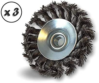 Kibros 127100TCx3 | Set of 3 | Rotary Cup Conical Wire Brush for Angle Grinder | Outer Diameter 100 mm | Twisted Bits Steel Wire 0.40 mm | Bore Female Thread M14