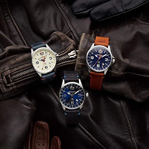 Torgoen T9 Cream GMT Pilot Watch | 42mm - Blue Leather Strap by Torgoen (Image #4)
