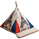 Creation Core Triangle Ipad Pillow Stand Linen Beanbag Cushion Lap Stand For Ipad, Tablets, Books (Eiffel Tower)