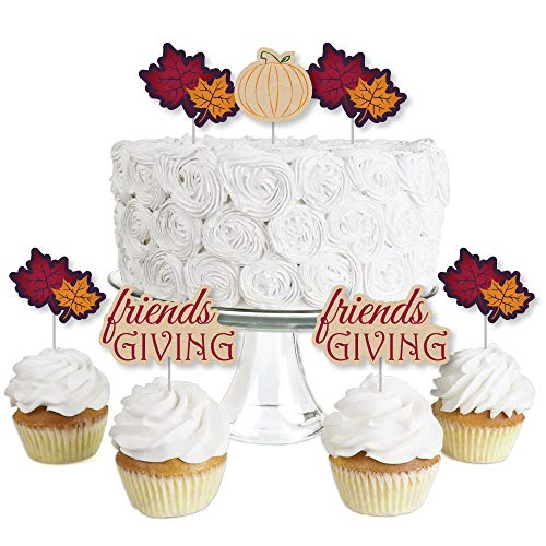 Friends Thanksgiving Feast - Dessert Cupcake Toppers - Friendsgiving Clear Treat Picks - Set of 24 ()