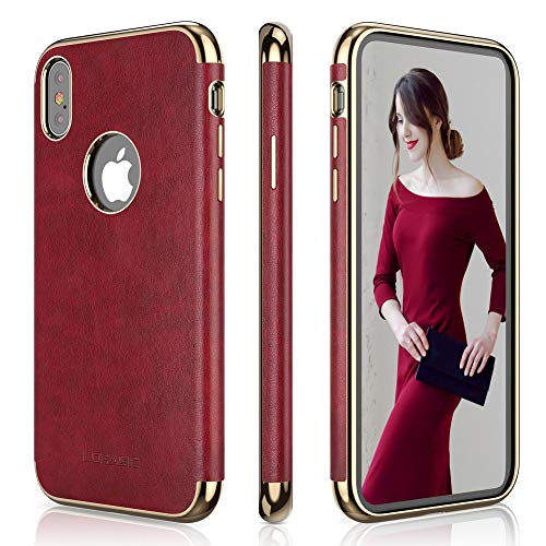 LOHASIC iPhone Xs Max Case for Women, Slim Luxury Leather Cover Soft Grip Non-Slip Bumper Shockproof Scratch Resistant Full Body Protective Phone Cases for Apple iPhone Xs Max (2018) 6.5