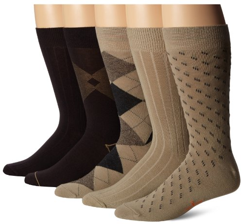 Dockers Men's 5 Pack Classics Dress Argyle Crew Socks, Khaki Assorted, Sock Size:10-13/Shoe Size: 6-12