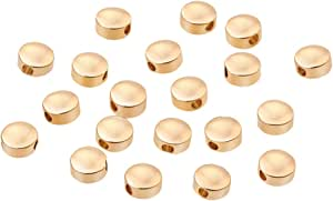 10pcs Brass Spacer Beads Flat Round Real 18K Gold Plated 11x10.6x0.8mm