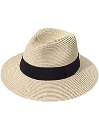 Women Wide Brim Straw Panama Roll up Hat Fedora Beach Sun Hat UPF50+