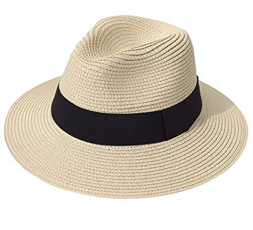 Lanzom Women Wide Brim Straw Panama Roll up Hat Fedora Beach Sun Hat UPF50+ (A-Khaki)