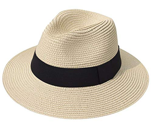 Face Cap Happy (Lanzom Women Wide Brim Straw Panama Roll up Hat Fedora Beach Sun Hat UPF50+ (A-Khaki))