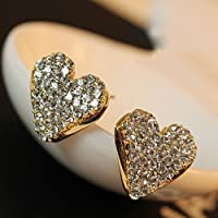 ERAWAN Fashion Women Heart Love Gold Crystal Rhinestone Lady Stud Earrings Jewelry Gift EW sakcharn