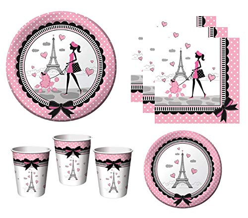 Party in Paris Tableware Supplies For Birthday French Themed Occasion Includes Plates Napkins Cups (Serves 16) ()