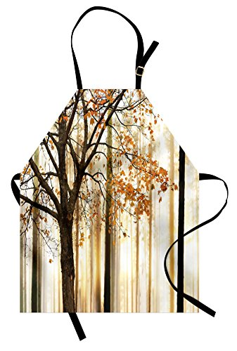 Autumn Apron by Ambesonne, Picture of a Lonely Tree with Orange Leaves on an Abstract Woodland Background, Unisex Kitchen Bib Apron with Adjustable Neck for Cooking Baking Gardening, Orange Brown (Woodland Apron)