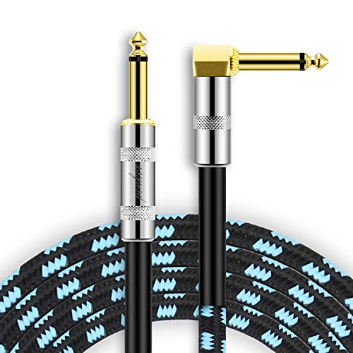 Penker Guitar Instrument Cable 10 Foot,1/4 Inch Right Angle to1/4 Inch Straight Gold Plated Guitar Cord,Good for Instrument Electric Guitar/Bass/Keyboard with Black Blue ()