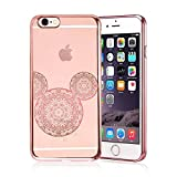 iPhone 8 Plus / 7 Plus Compatible, Rose Gold Shiny Mouse Inspired Mandala Zen Tangle Cartoon Pattern Rubber Slim Fit Silicone TPU Case Cover