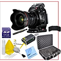 Canon EOS C100 Cinema EOS Camera with Dual Pixel CMOS AF and 24-105mm f/4L Lens, 64GB SDHC Memory Card, Card Reader, Full Size Extendable Tripod, Professional Monopod, Lens Cleaning Pen, Professional Camcorder Storage Case, Lens Cleaning Kit and CS Microfiber Cleaning Cloth.