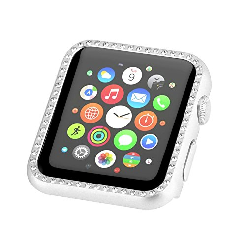 Aluminum Metal Apple Watch Case with Crystal Diamonds Plate Protective Cover Ultra Thin Bumper for iWatch Series 1/ 2/ 3(Best 3D Bling Gift for Your iWatch) (Silver, - Faces Diamond