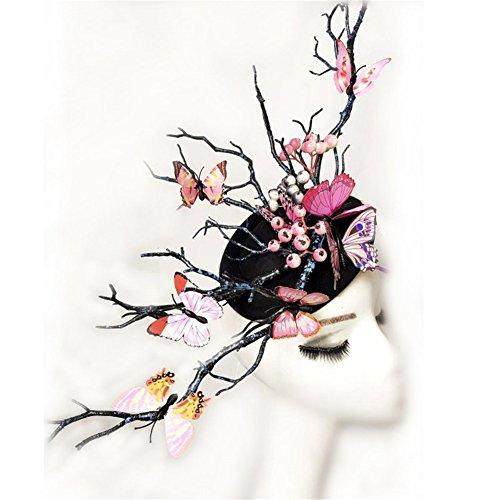 Women's Fascinator Headpiece Wedding Party Mini Top Hat Handmade Gothic Butterfly Antler Headdress Horns Hair Accessories Xiaolanwelc -