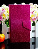 Bling Glittery Powdery Style PU Leather Flip Stand With Card Slot Wallet Case Cover For Vodafone Smart 4 Mini (Rose Red)