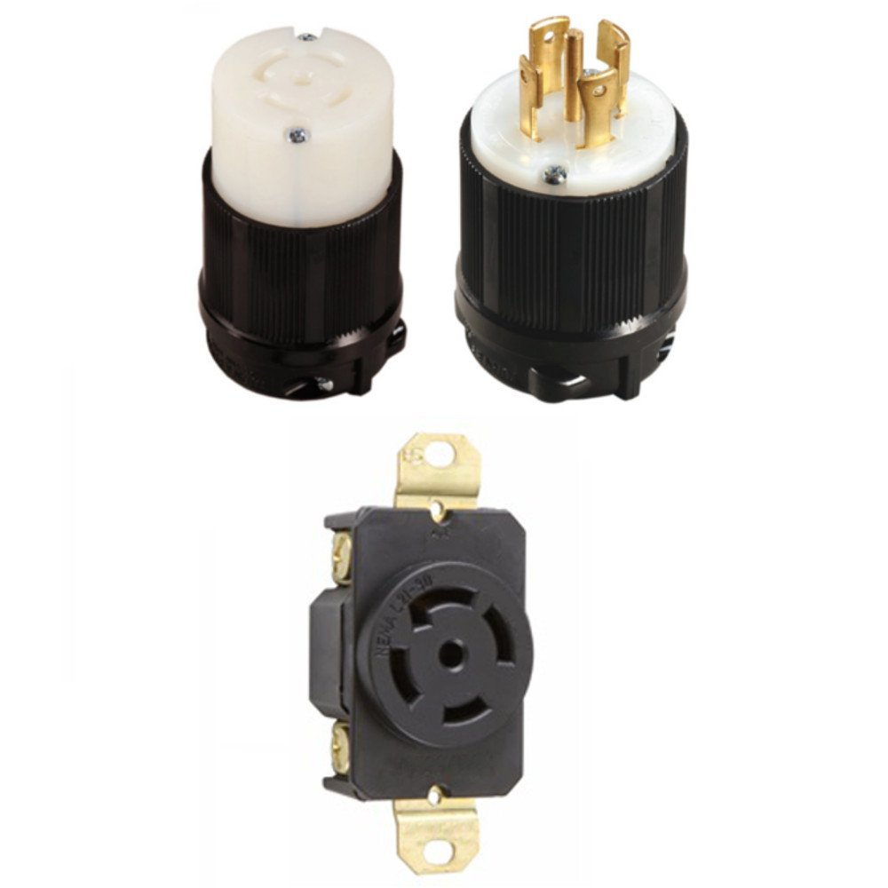 OCSParts L21-30PCR NEMA L21-30 Plug, Connector and Receptacle Set - Rated for 30 Amp, 120/208V, 5-Wire, 4 Pole - cUL Listed (Pack of 3)
