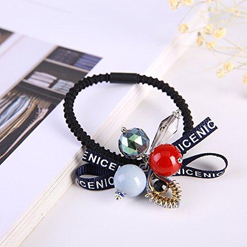 - High-grade crystal bow headdress Korean hair ring fashion vase eye lantern Ms. rubber band hair accessories for women girl lady