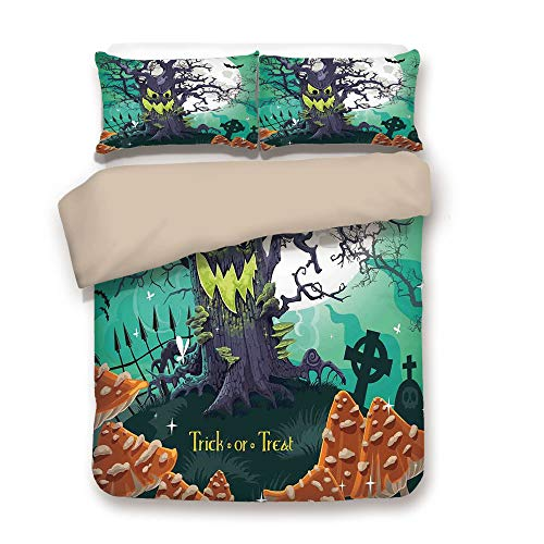 Duvet Cover Set,Back of Khaki,Halloween Decorations,Trick or Treat Dead Forest with Spooky Tree Graves Big Kids Cartoon Art,Multi,Decorative 3 Pcs Bedding Set by 2 Pillow Shams,Full ()