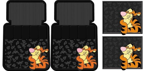 4pc Tigger Face Design Front And Rear Floor Mats For Car