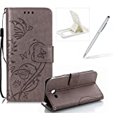 Strap Case for Samsung Galaxy J730 2017,Wallet Leather Cover for Samsung Galaxy J730 2017,Herzzer Classic Elegant [Gray Butterfly Pattern] PU Leather Fold Stand Card Holders Smart Phone Case for Samsung Galaxy J730 2017 + 1 x Free White Cellphone Kickstand + 1 x Free White Stylus Pen