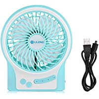 Portable Rechargeable Personal Fan 3 Speeds Mini USB Rechargeable Desk Table Fan with LED Light for Home Office Outdoor Traveling(Blue)