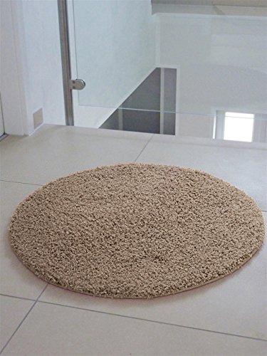 benuta Teppiche: Shaggy Langflor Hochflor Teppich Swirls Taupe ø 120 cm rund - schadstofffrei - 100% Polypropylen - Uni - Maschinengewebt - Wohnzimmer