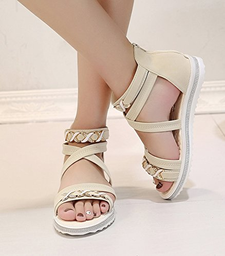 Minetom Mujer Verano Moda Bohemia Planos Cuero Gadiador Sandalias Romanas Zapatos Ocio Playa Plana Sandalias Beige