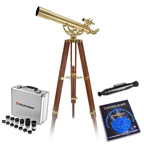 Celestron 21034 Bundle Ambassador 80AZ Brass Telescope with Skymaps, Optics Cleaning Tool and Eyepiece & Filter Kit by Celestron
