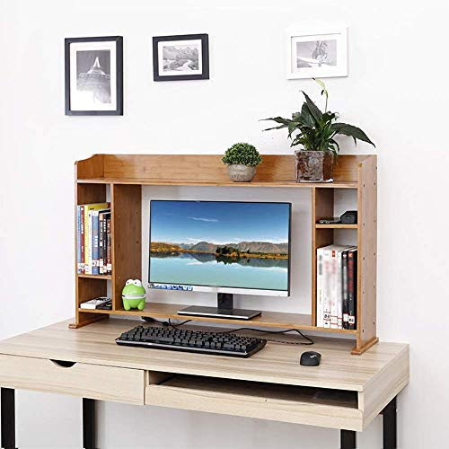 PLLP Hogar Dormitorio Estantería Estantería de Escritorio Estantería de Almacenamiento Organizador Simple Estantería de Oficina Mesa de bambú Estantería de la Cama de la habitación de los Estudiantes