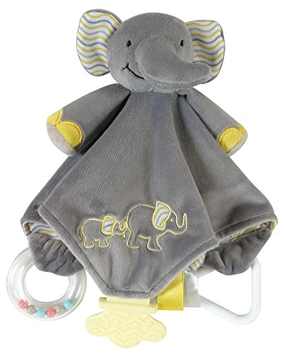Stephan Baby Chewbie Activity Toy and TeeTher Security Blanket, Grey Elephant ()