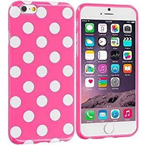 Accessory Planet(TM) Hot Pink / White TPU Polka Dot Rubber Design Skin Case Cover for Apple iPhone 6 (4.7)