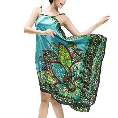Ahatech Mujer Lencería Satén, Vestido Ropa de Dormir para Mujer, Satén Camisón Pijama Ropa Lago azul
