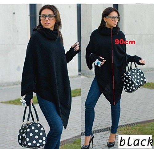 Bordeaux pour en noir Taille Ensemble poncho et acrylique femme mitaines unique 4sold qPgHYw