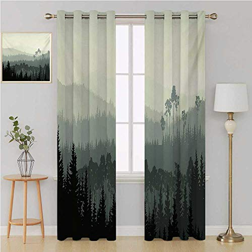 Forest grummet Curtain Best Home Fashion Wide Width Thermal,The Panorama of a Valley and Mystic Forest of Pine Trees Nature Theme Curtains for Bedroom 84 by 96 Inch Egg Shell and Sage Green ()