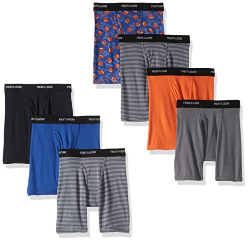 Fruit of the Loom Boys' Big Boxer Brief, Exposed and Covered Waistband, Long Leg - Assorted (Pack of 7), Medium