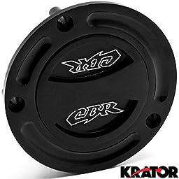 Krator Black Keyless Gas Cap Twist Off Fuel Tank Cap Logo For Honda CBR 1000RR 2004-2013