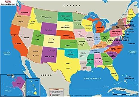 Amazon.com : US States and Capitals Map - Laminated (36\