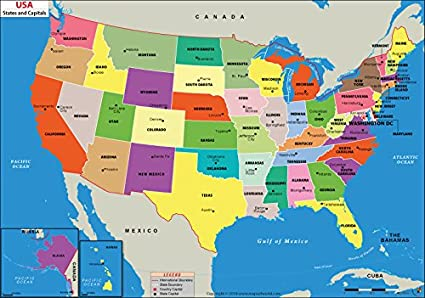 Amazoncom Us States And Capitals Map Laminated 36 W X 253 H - Dc-comics-us-map