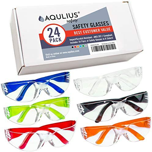 24 Pack of Safety Glasses (24 Protective Goggles in 6 Different Colors) Crystal Clear Eye Protection – Perfect for Construction, Shooting, Lab Work, and More!