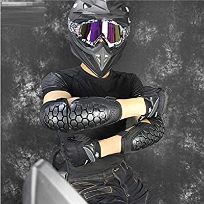 Runspeed Adults Motorcycle Elbow Knee Shin Guards for Men or Women, Motocross Motorcycle Cycling Elbow Knee Pads Armor Protector, One Size Fits Most, Black (Black ElbowPad) : Sports & Outdoors