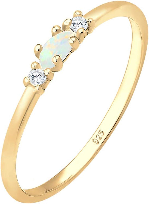 Elli Anillos Para mujer vintage con cristales de circonia y ópalo en plata esterlina de ley 925