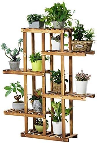 LINlq パインウッドフロアスタンディング植物ラック、6つの棚、屋内の花は、マルチシェルフ21.7x9.8x49.2inラック