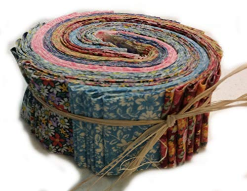 """Calico Quilting Fabric - Grandma'S Calico Jelly ROLL for Quilting, 42 2.5"""" Strips, and Bonus Retractable Tape Measure Created and Designed Exclusively for Ozark Mountain Quilter"""