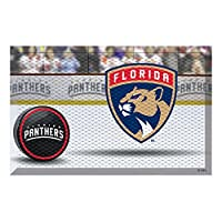"FANMATS 19146 Team Color 19"" x 30"" Florida Panthers Scraper Mat (NHL Puck)"