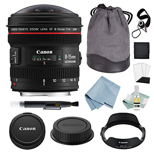 (Canon EF 8-15mm f/4L Fisheye USM Lens + Advanced Accessory Kit - Canon Lens Bundle Includes EVERYTHING You Need to Get Started)