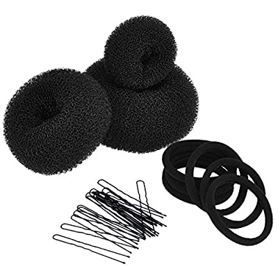 Mudder 3 Pieces Hair Bun Maker Doughnut Donut Bun Maker Set Hair Styling Accessories Kit (Large, Medium and Small), Black