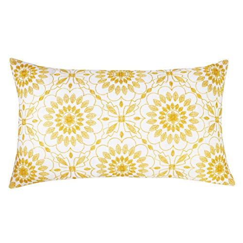 SLOW COW Cotton Linen Embroidery Lumbar Throw Pillow Cover Cushion Cover Floral Pattern Rectangular Pillowcase for Couch Bedroom 12 x 20 Inches, Yellow Gold