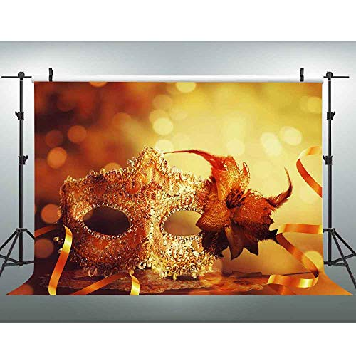 VVM 7x5ft Luxury Mask Backdrop Masquerade Theme Party Decoration Customized Birthday Photo Shoot Props LXVV701]()